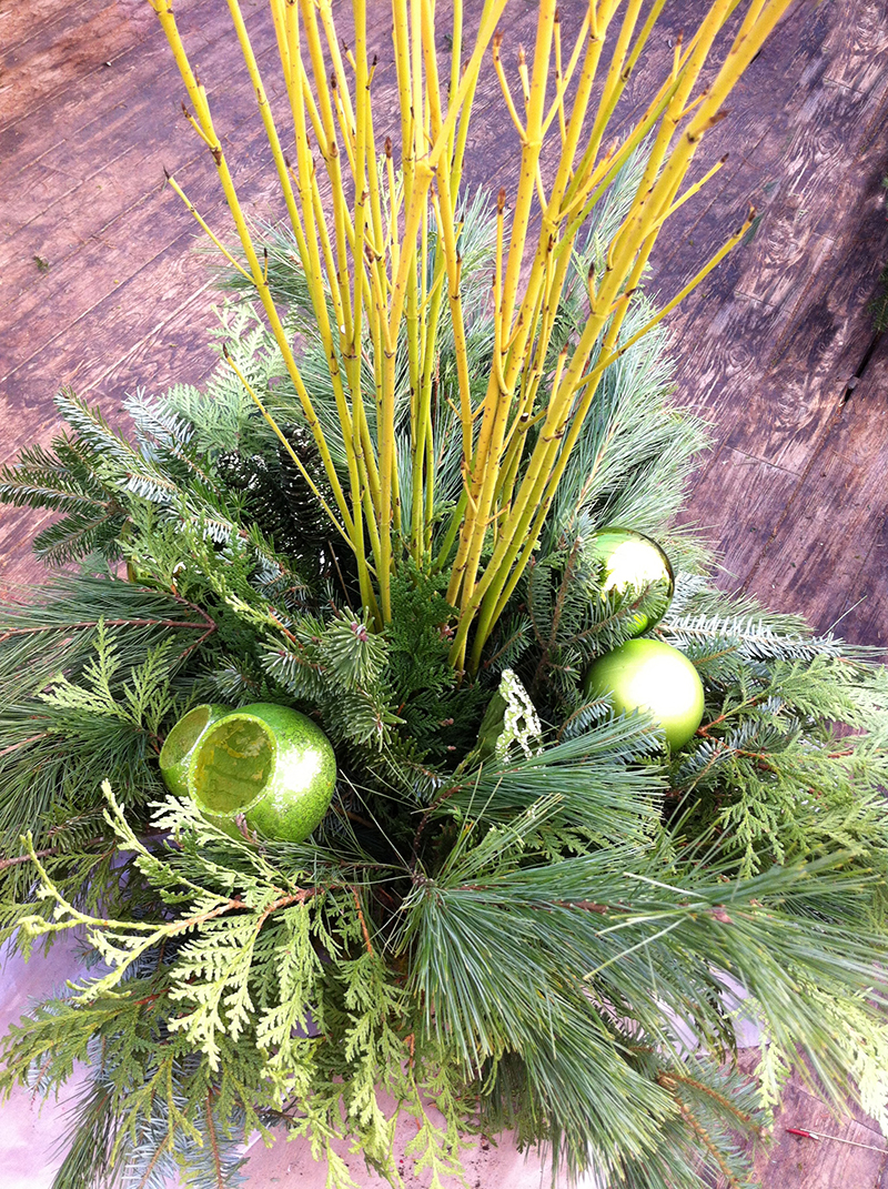 Our urns can be used as inserts in your own pots or stand alone. They are made with moss covered wire baskets, which accent the evergreens and looks really natural.
