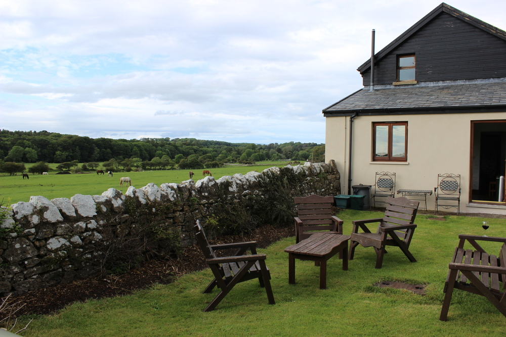 Our very own garden outside the kitchen door with a view of the River Ogmore and a glimpse of the sea.