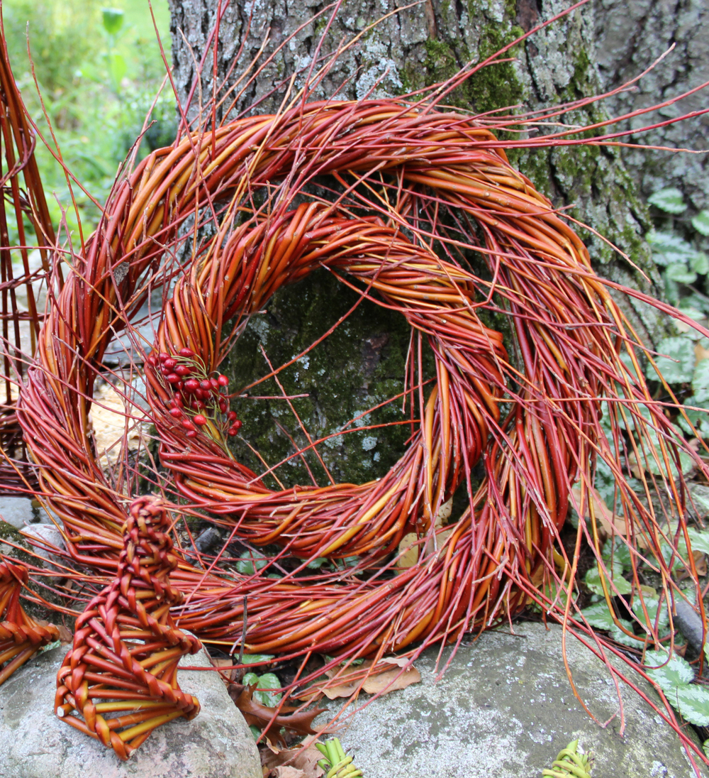 A double roped flame willow wreath.