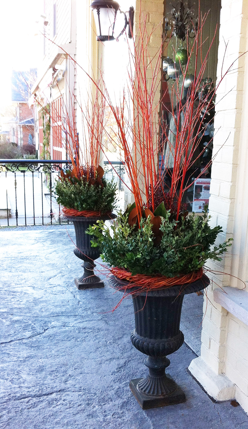 thebranchranch.ca custom storefront winter planters