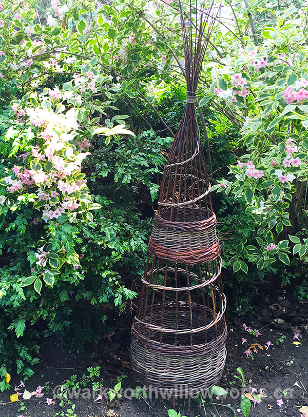 English Obelisk - learn some basketry skills in this one day class making a 4-5ft garden ornament on June 6