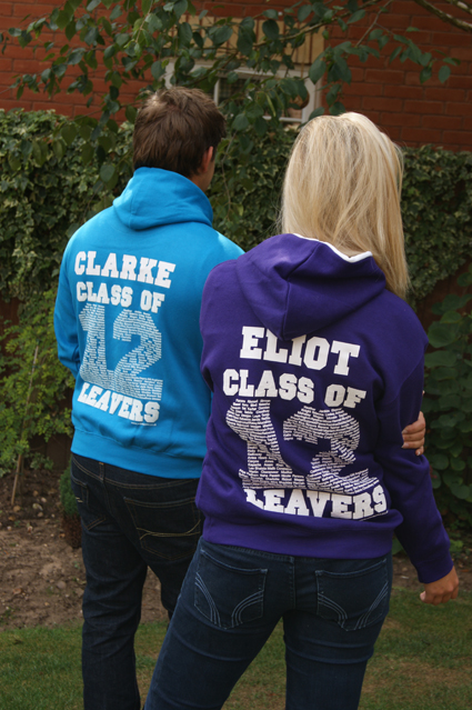 Contrast package leavers hoodie designs