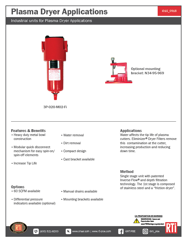 i016 Plasma Dryer Applications