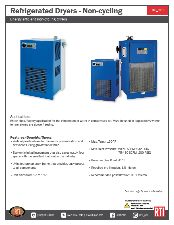 i103 Refrigerated Dryers_Non-Cycling