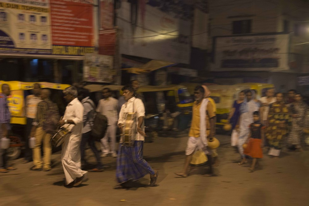 Left the room at 4:30 AM walking through the streets to the ghats. As my guide Saugrebgh says, theres something going on in Varanasi 24 hours a day. Heres a procession to the Ganges at 5 in the morning. Singing, chanting drums, and all. Just crazy. I have some videos which i will try to post when i get home. You must see and hear it to fully appreciate.