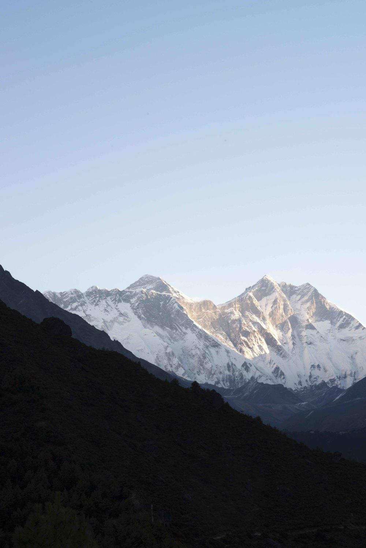 Everest is the peak on the left. 29,029 feet high.