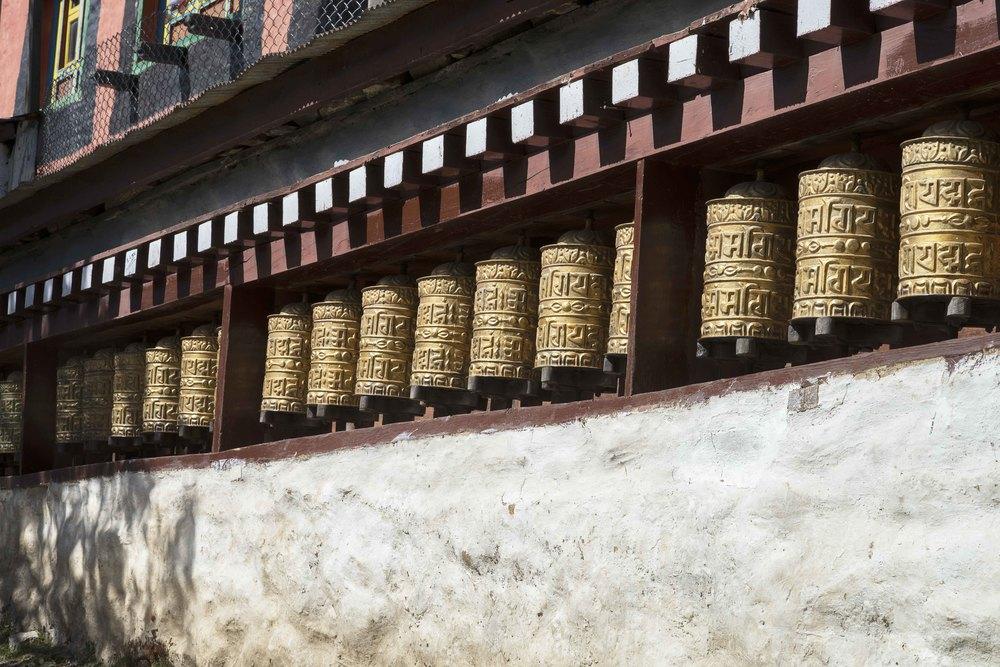Prayer wheels at a Monastery.