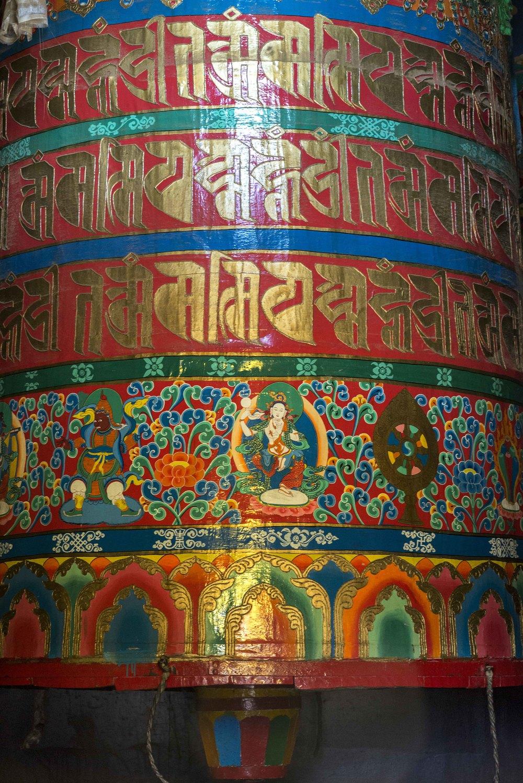 Very large prayer wheel - about ten feet high.