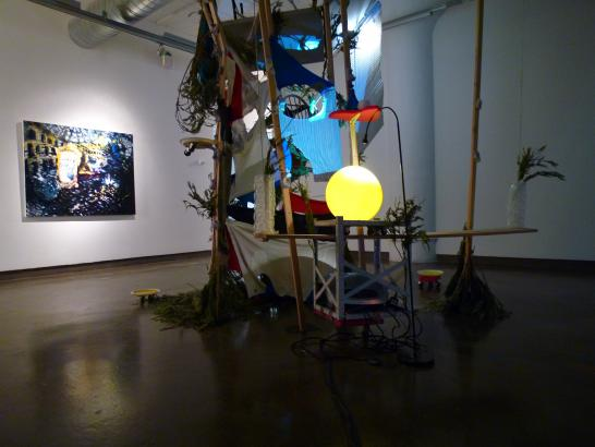 Installation view of my painting with artist's Feng Tsung-Chan's sculpture