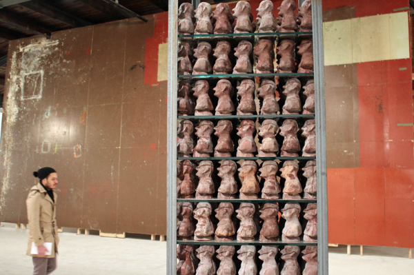 Dieter Roth's chocolate heads (as tower)
