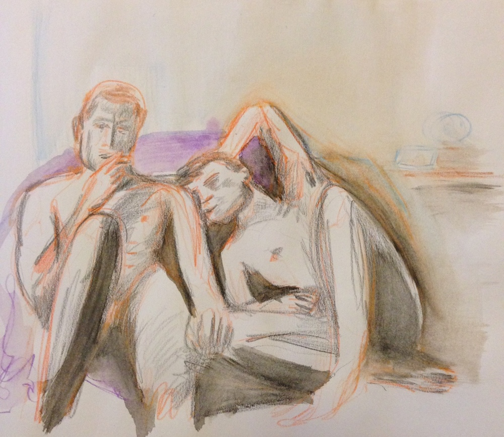 Lovers: Film still, watercolor pencils on paper