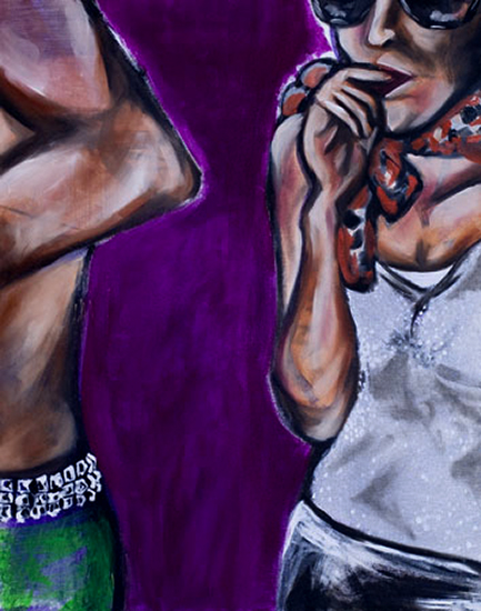 "Purple Pose, oil & acrylic on canvas, 24"" x 30"", 2006"