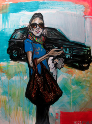 """Let's go shopping, then die, oil & acrylic on canvas, 36"""" x 48"""", 2007"""