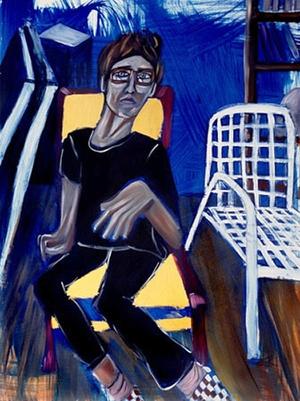 "Blue Pose, oil & acrylic on canvas, 36"" x 48"", 2006"