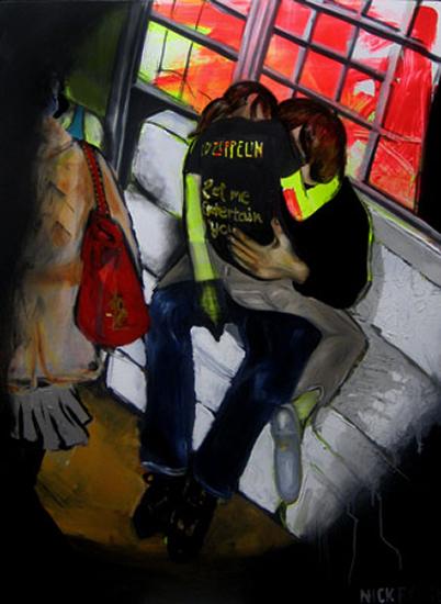 "Let me entertain you, oil & acrylic on canvas, 36"" x 48"", 2006"