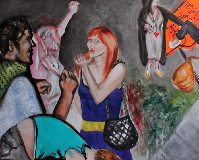 """At the Party, oil & acrylic on canvas, 48"""" x 60"""", 2007"""