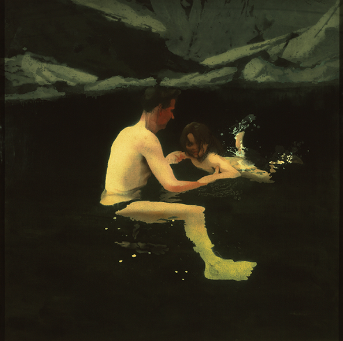 "Michael Andrews, ""Melanie and me swimming,"" acrylic on canvas, 1978-79 (photo ©Tate London 2016)"
