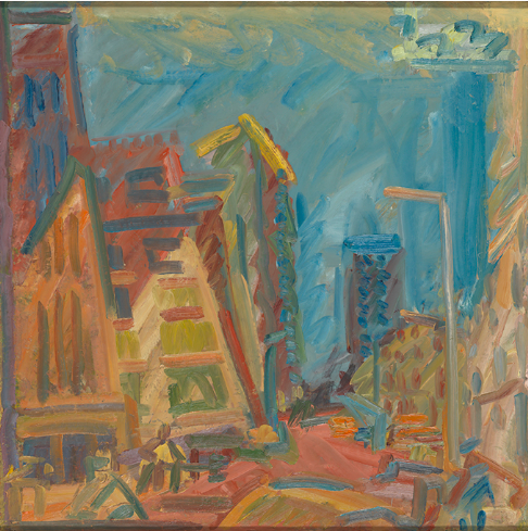 "Frank Auerbach, ""Mornington Crescent - Summer Morning,"" oil on canvas, 2004 (photo ©Tate London 2016)"