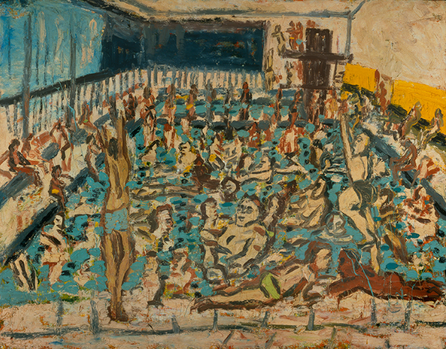 "Leon Kossoff, ""Children's swimming pool, Autumn afternoon,"" oil on board, 1971 (photo ©Tate London 2016)"