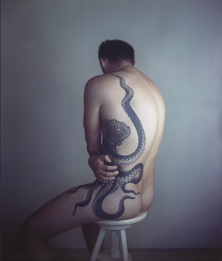 Richard Learoyd, Man with octopus tattoo II, 2011, silver-dye bleach print, ©RichardLearoyd, image courtesy of Fraenkel Gallery, San Francisco
