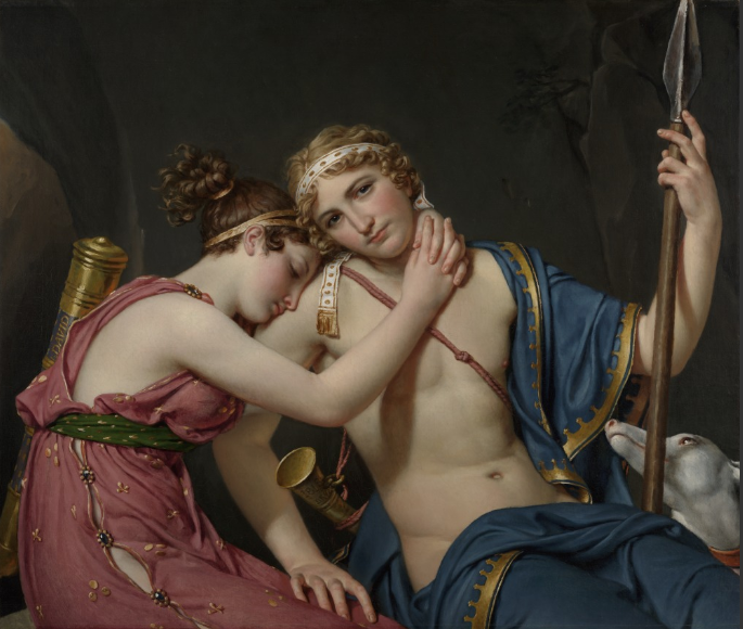The farewell of Telemachus & Eucharis, Jacques-Louis David, oil on canvas, 1818, Getty Museum