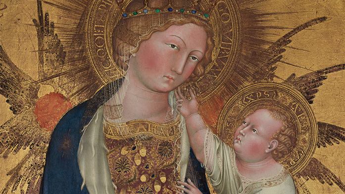 Branchini Madonna (detail), 1427, Giovanni di Paolo, tempera and gold leaf on panel. The Norton Simon Foundation, Pasadena