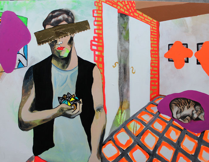 "Self portrait with jewels and cat, oil & acrylic on canvas, 30"" x 40"", 2007"