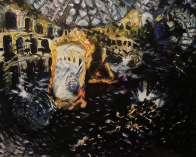 "A rebours, au grand palais,  oil finger paint application on canvas, 48"" x 60"", 2013"