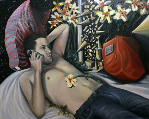 "Self portrait, oil on canvas, 48"" x 60"", 2013"