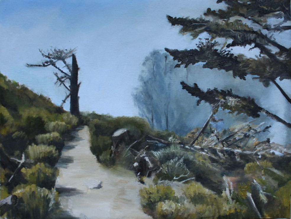"Road, oil on canvas paper, 9"" x 12"""