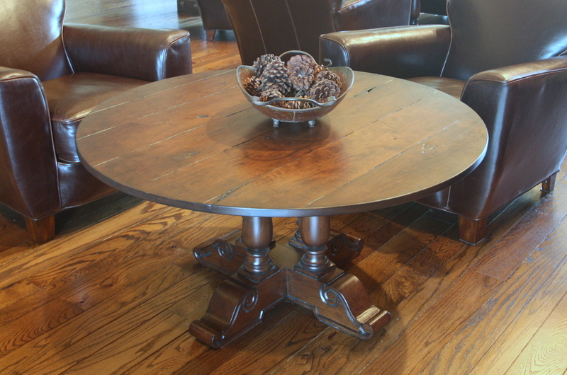 Four Leg Pedestal Table in Custom Color Finish