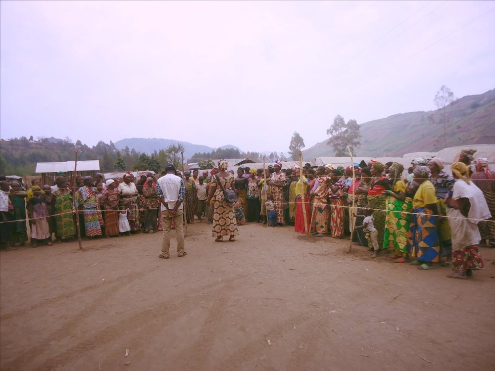 A health supply distribution implemented by ECC-MERU, at the Mubimbi IDP camp in Minova, South Kivu.