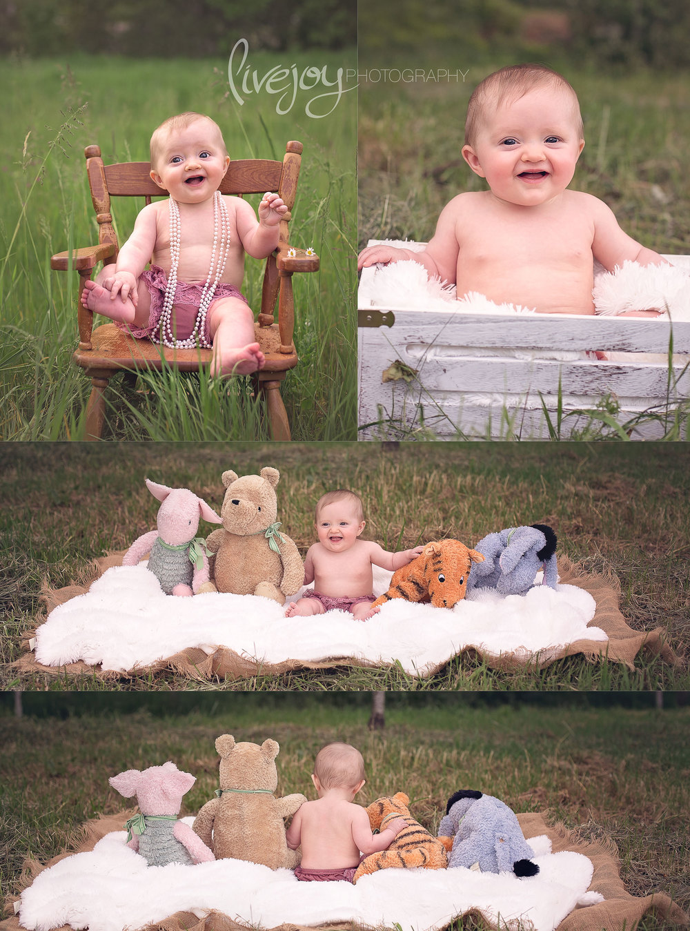 6 Month Baby Photos with Winnie the Pooh | Oregon | LiveJoy Photography