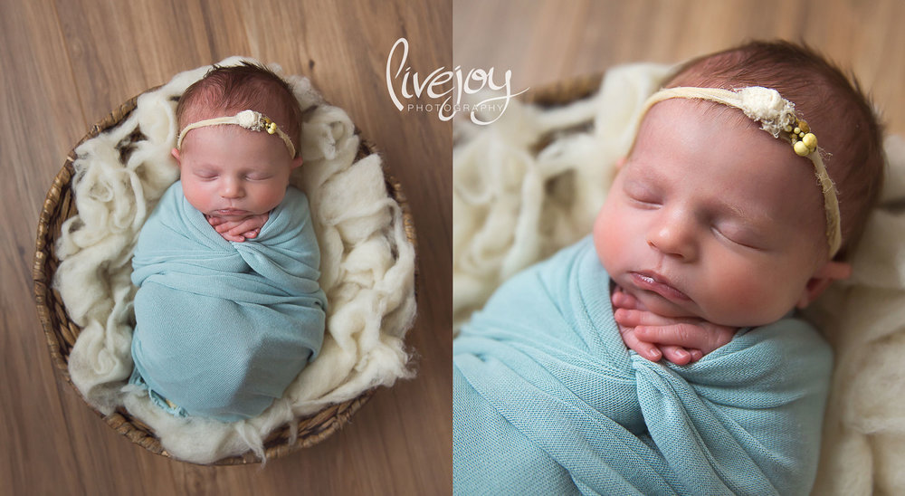 Baby Girl in Blue Newborn Photos | Oregon | LiveJoy Photography