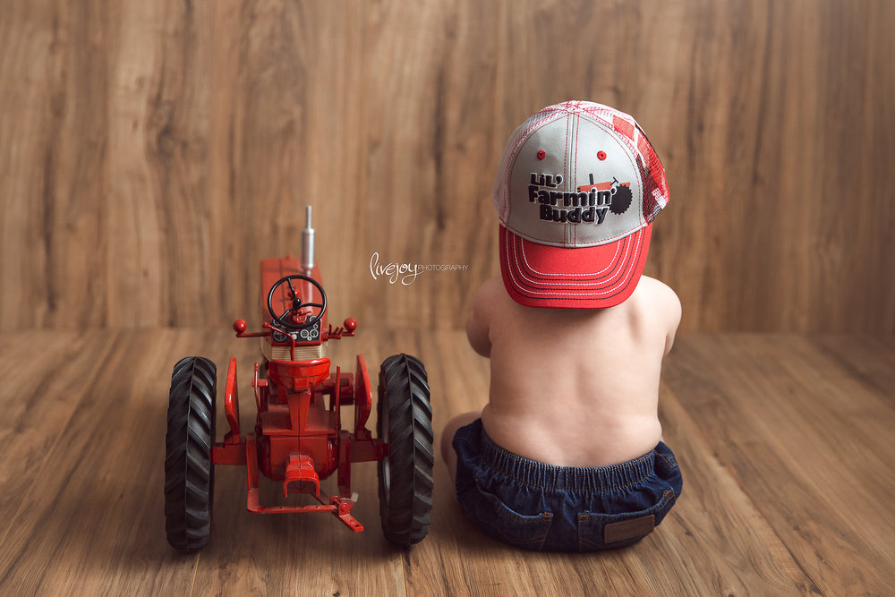 Baby Boy and his Tractor | 6 Month Baby Photos | Oregon | LiveJoy Photography