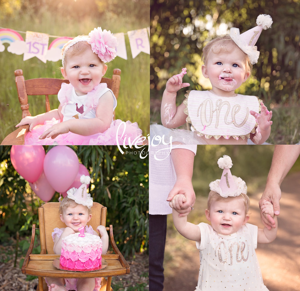 Baby Girl | One Year Cake Smash Photography | Oregon | LiveJoy Photography