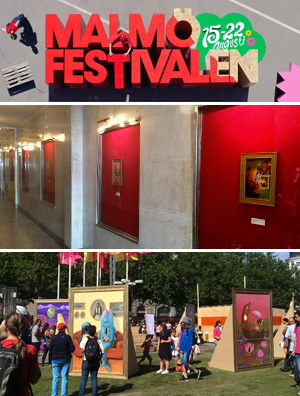 Malmö Festival August 15 - 22, 2014 Interactive art installation of five 'face-in-holes' at Gustav Adolf's Square. Exhibition of the five original paintings 'Chummies' at Palladium. The art project was commissioned by Malmö City, Sweden.