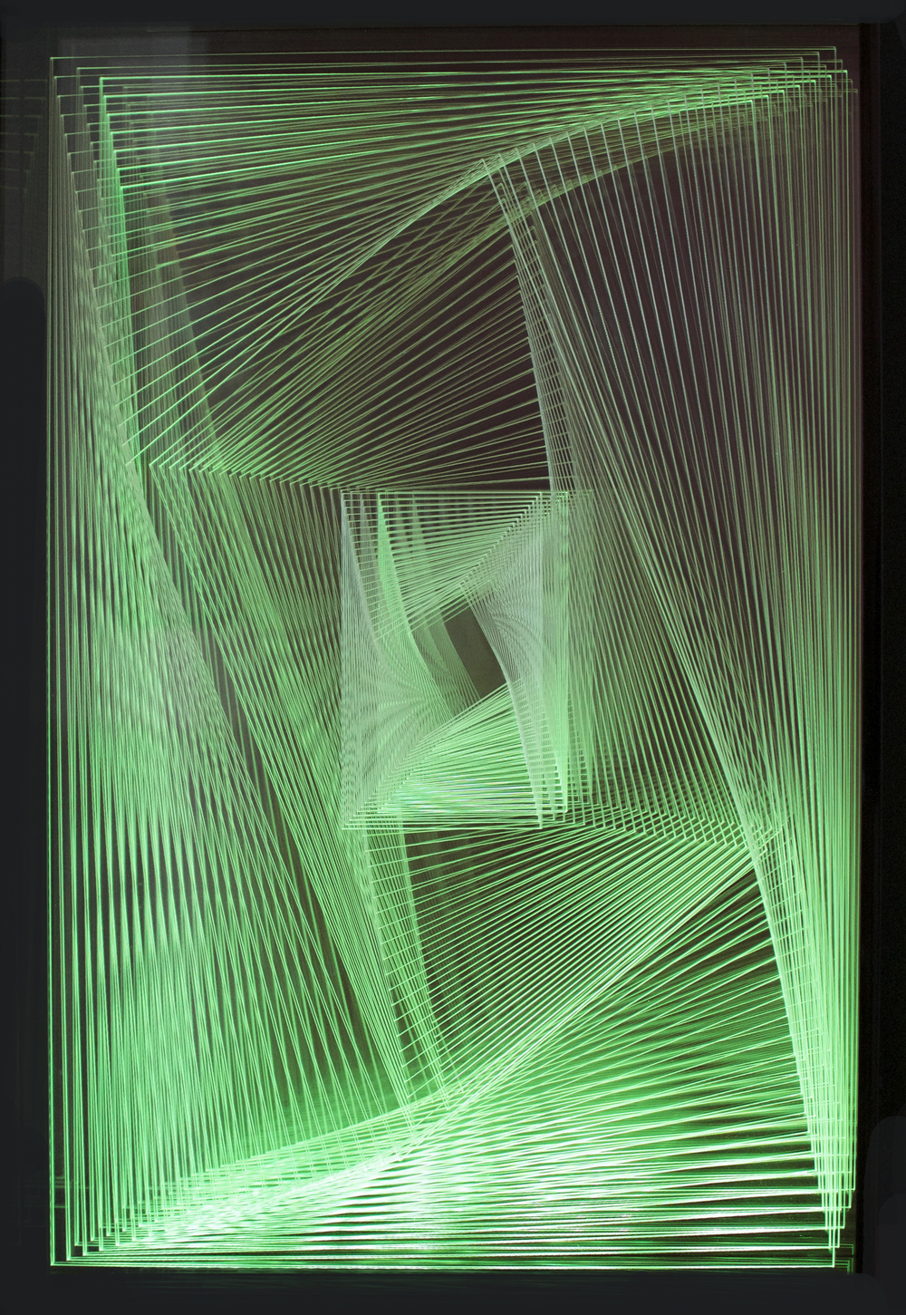 """Dinamica V2"", acrylic & LED lights, 16 x 24 x 6 in."