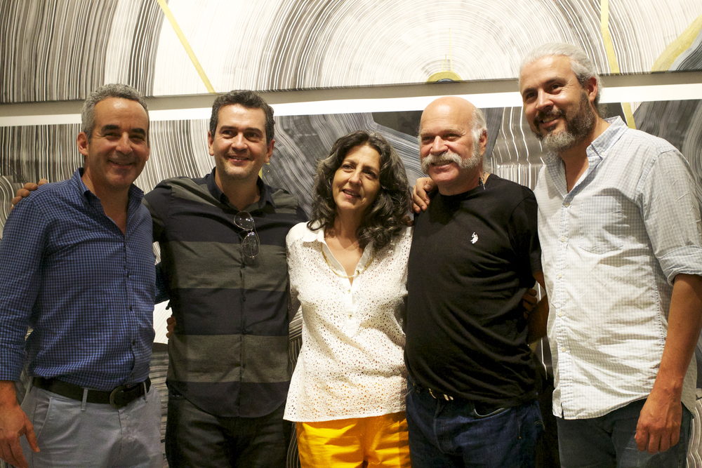 From left to right: Santiago Medina, Juan Mejia, Etra Fine Art gallery owner Alicia Restrepo, Ronny Vayda, and Mario Velez.