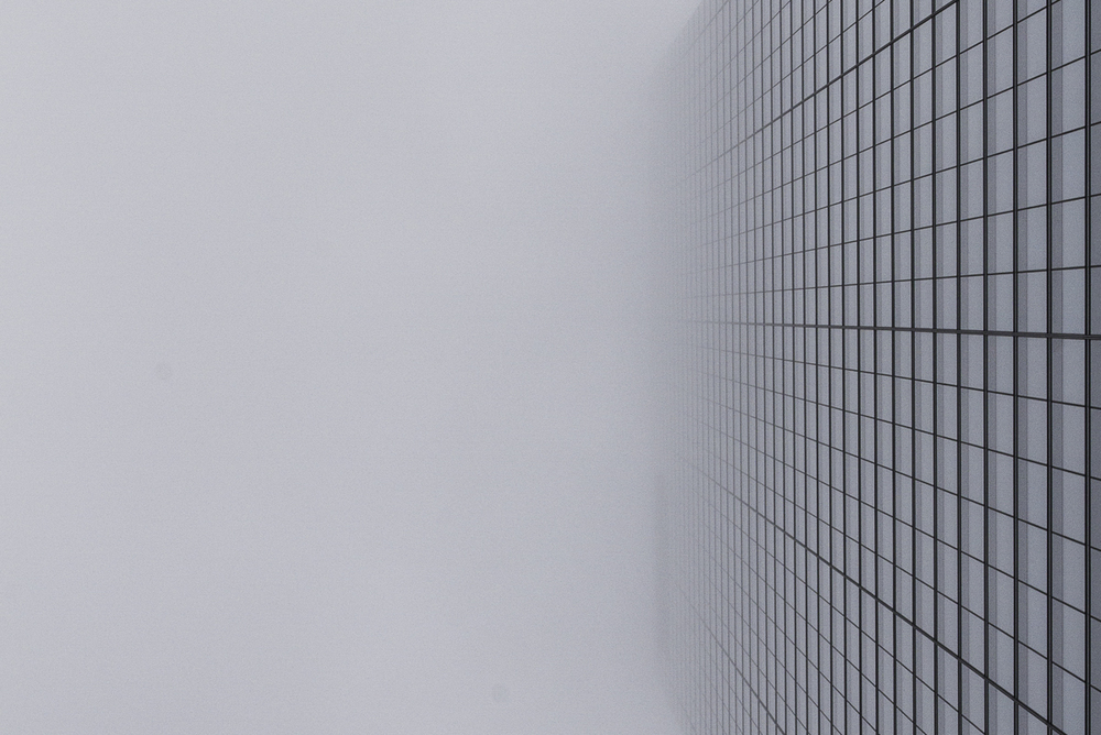 Projective Space Series by Liam Philley (liamphilley.com) -- glass building in fog.jpg