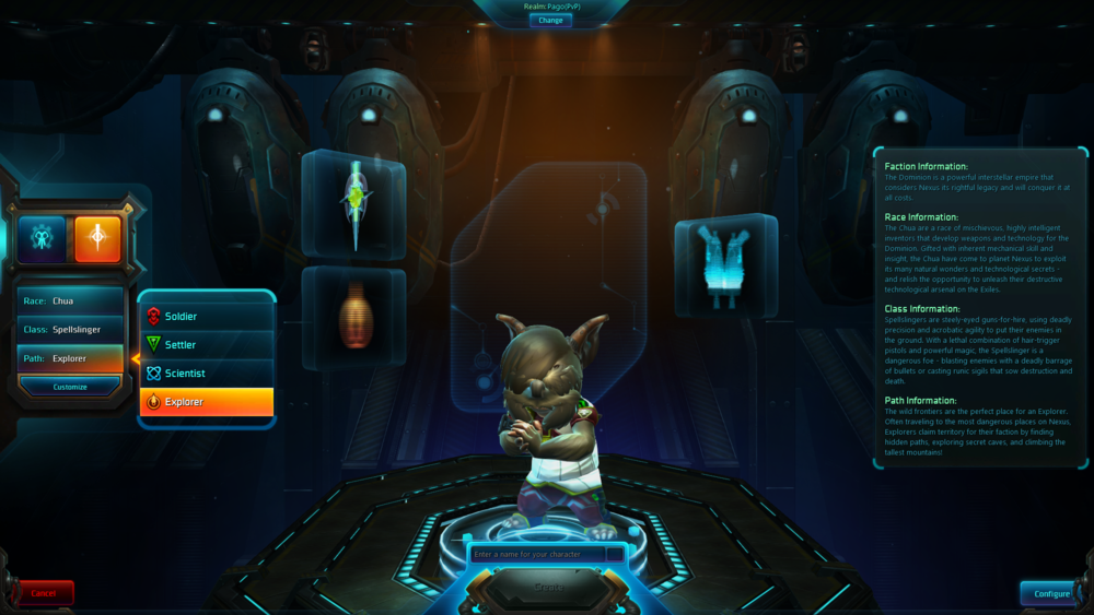 Character creation process in Wildstar.