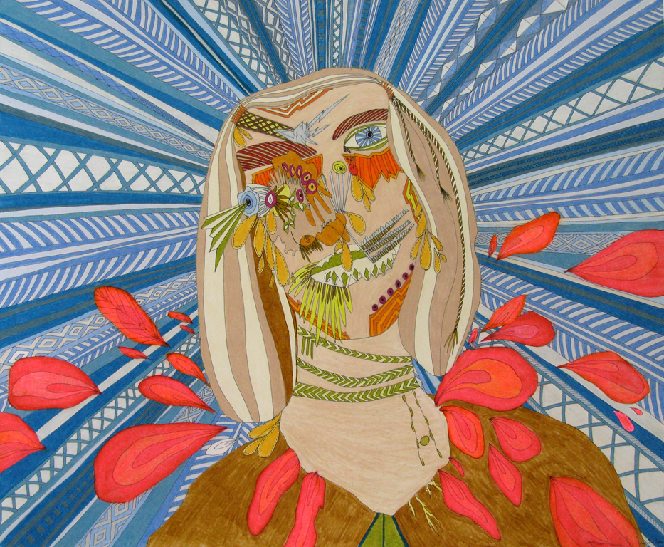 "She Arose From a Vast Volcano, 14"" x 17"", 2008"