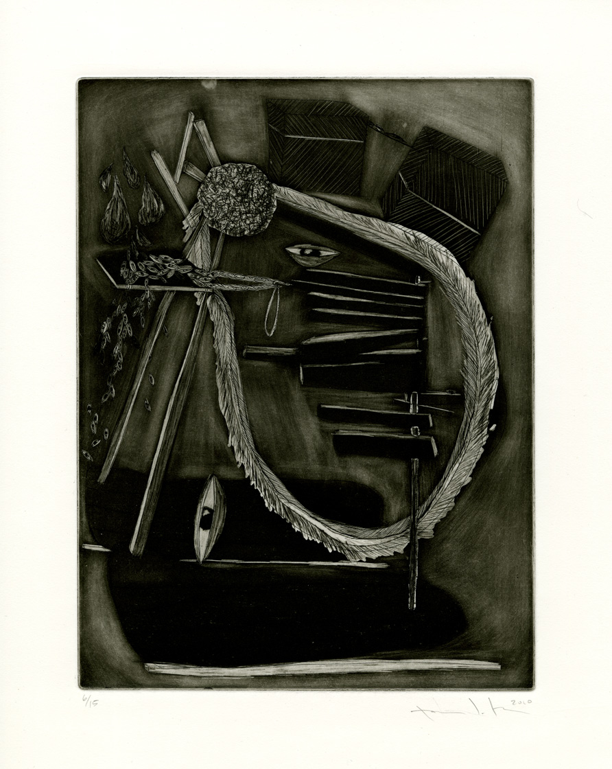 "Pattie Lee Becker, Discussions on Fear, etching, 9"" x 12"", 2010"