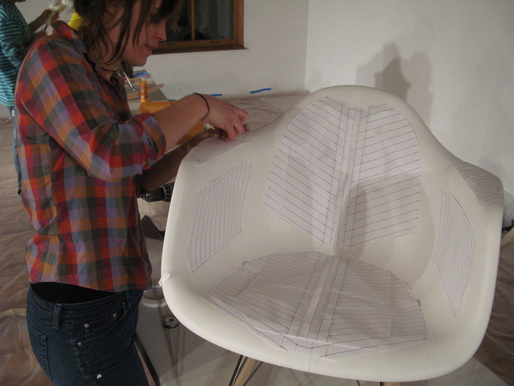Pattie Lee Becker transformed Eames chair (process)