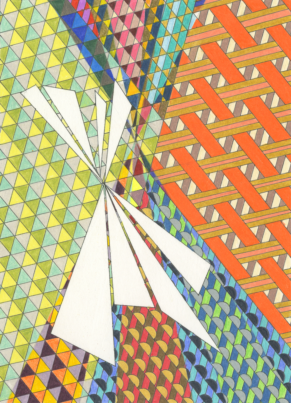 "Teepee, ink and colored pencil, 5"" x 7"", 2013"