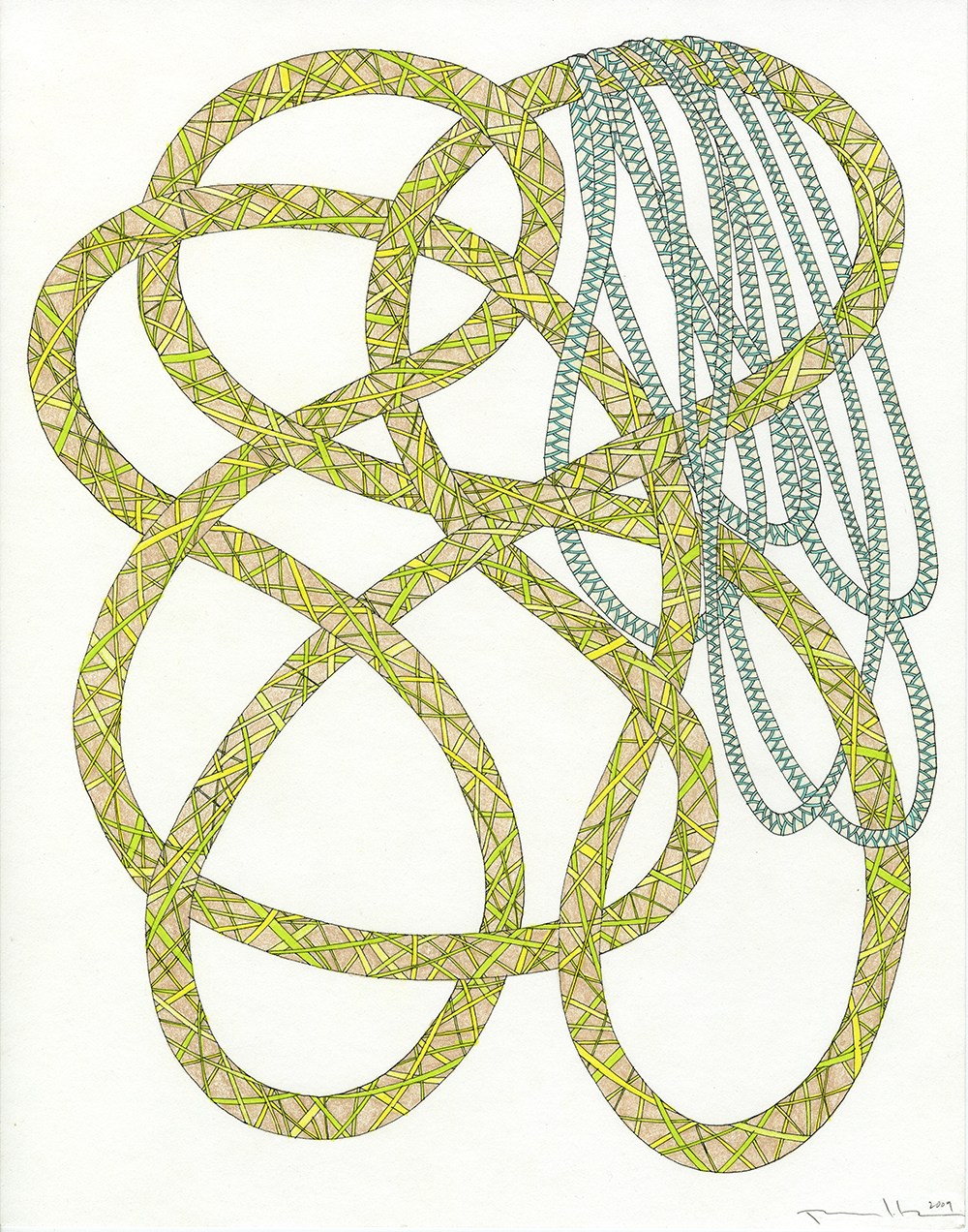 Ropes in Green, Yellow, Tan, & Aqua_11x14_2009_CC.jpg