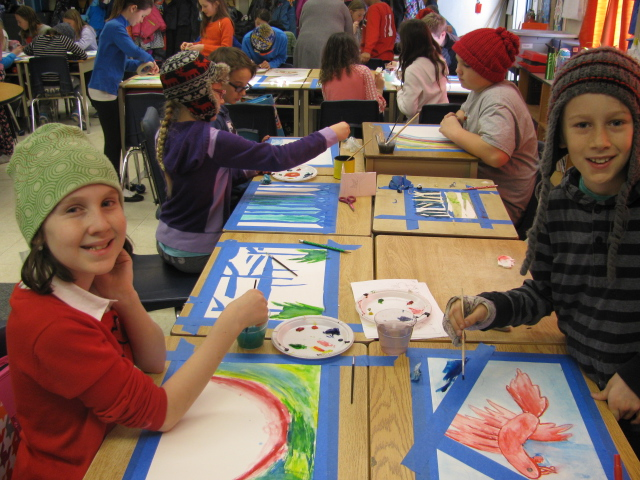 An art workshop in Mountain View School in preparation for the Magic of Children exhibition. Research shows the benefits to children from arts in the classroom.
