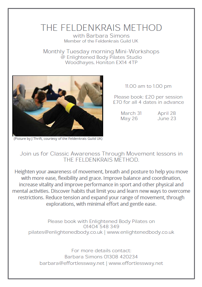 Feldenkrais mini-workshops @Enlightened Body Pilates