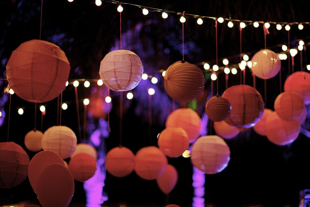 Paper Lanterns from Luna Bazaar   String lights from Target