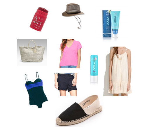 Tarte Cheek Stain , Orvis Edgartown Crusher hat, Coola Face Sunscreen, Prada Tessuto Large Tote (unavailable), J Crew Tee, Coola Liplux spf30,  Madewell Dress, Soludos Espadrilles, Gap Boyfriend Shorts, Araks Swimsuit for J. Crew